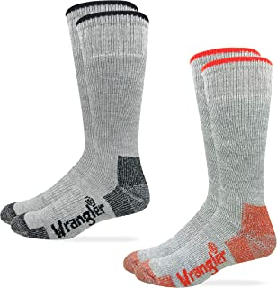 Wrangler Mens Moisture Wicking Wool Blend Full Cushion Tall Boot Work Socks 2 Pair Pack