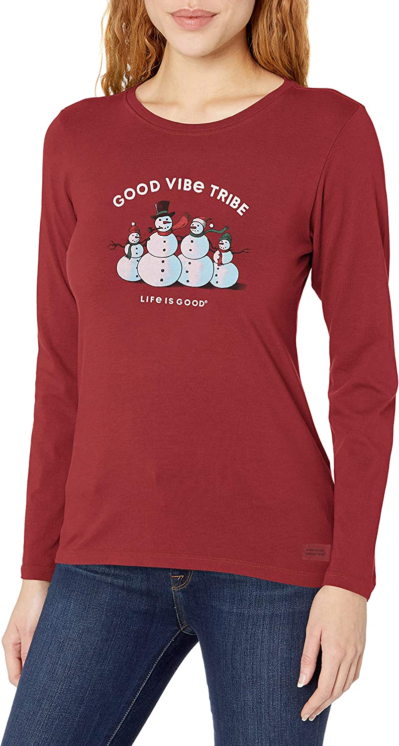 Life Is Good Womens Holiday Long Sleeve Crusher T-shirt Be The good Hannukah W