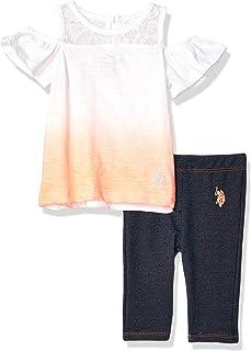 U.S. Polo Assn. Baby Girl's 2 Piece Dip Dye Fashion Top and Capri Legging Set Pants, Multi