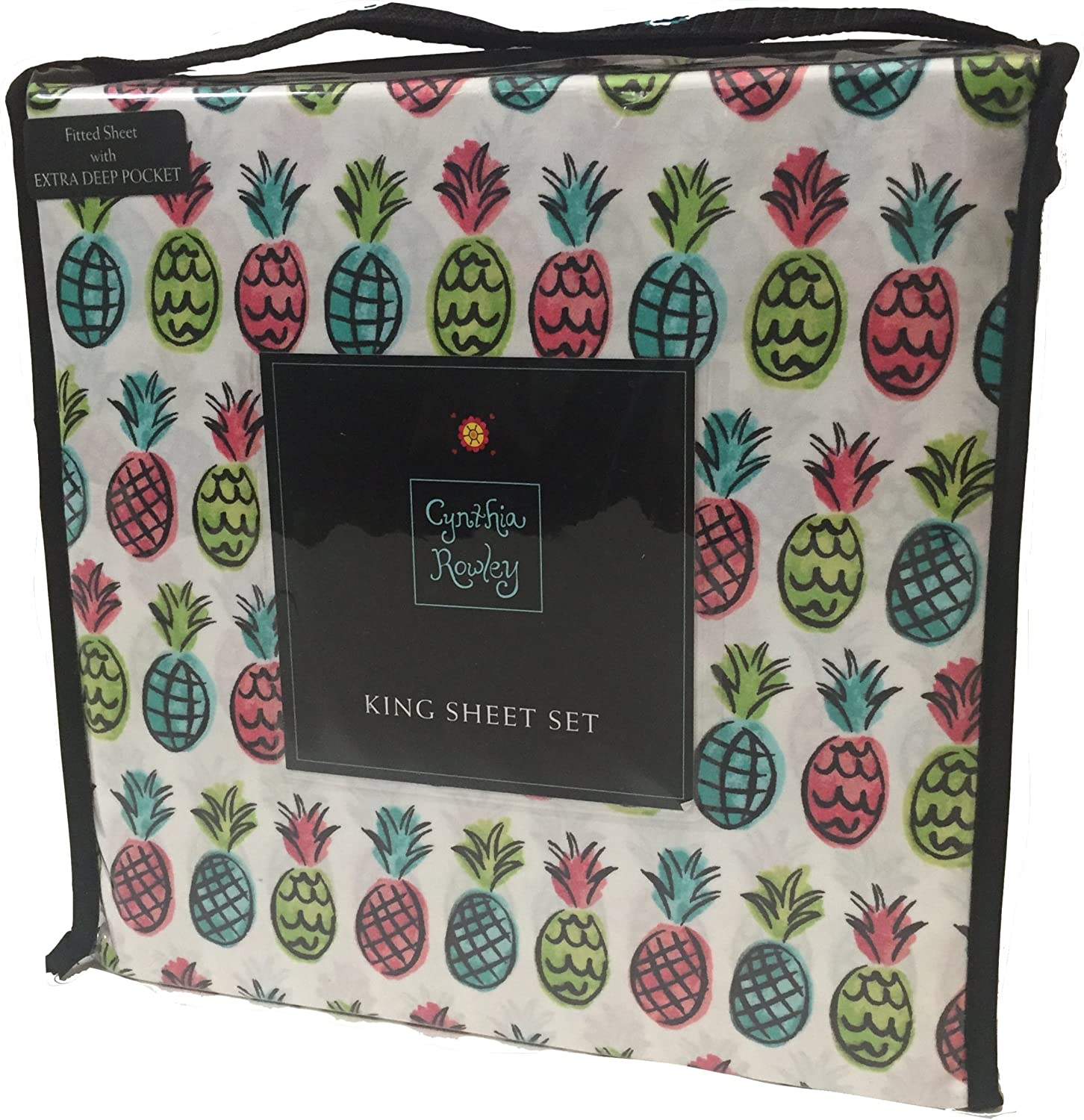 Cynthia Rowley King Sheet Set Microfiber Neon Pineapples on White Extra Deep Fitted Bedding