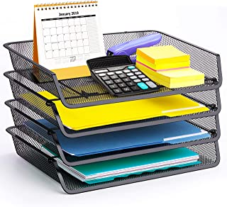 4 Pack - Simple Trending Stackable Office Desk Supplies Organizer, Desktop File Letter Tray Holder Organizer, Black