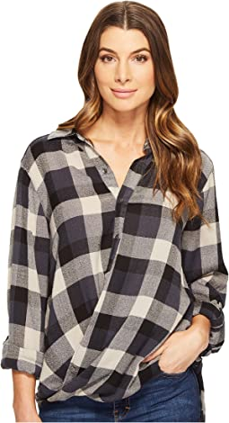 Blank NYC - Multi Plaid Drape Front Shirt in Black Watch