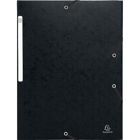 Exacompta - Réf. 55750E - Paquet de 1 Chemises SCOTTEN à 3 rabats avec élastique 24x32 cm en carte lustrée avec gaufrage 425g monobloc permet de contenir jusqu'à 3,5 cm de documents - noir