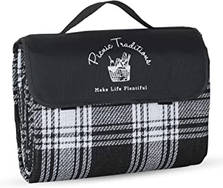 Picnic Traditions Large Picnic Blanket Water Resistant Tote - Great for Picnics, Camping on Grass, at The Beach, Tailgating at Stadiums, Durable Mat has Waterproof PEVA Backing - 69 x 53 in. (Black)