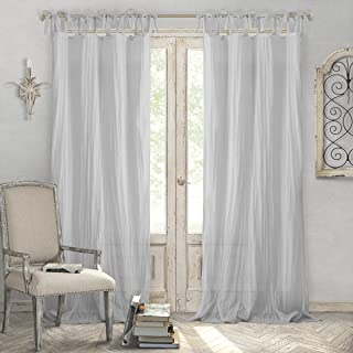 """Best Elrene Home Fashions Crushed Semi-Sheer Adjustable Tie Top Single Panel Window Curtain Drape, 52"""" x 84"""" (1, Gray Review"""