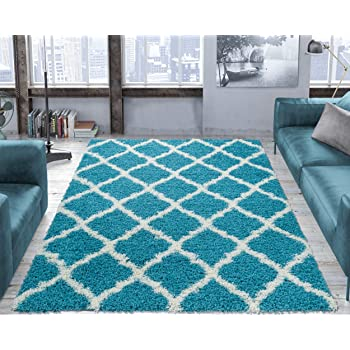 """Ottomanson shag Collection Area Rug, 5'3"""" x 7', Turquoise"""