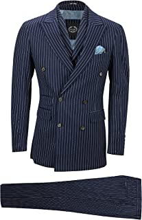 XPOSED Mens Navy 3 Piece Double Breasted Chalk Stripe Suit Classic Vintage Tailored Fit