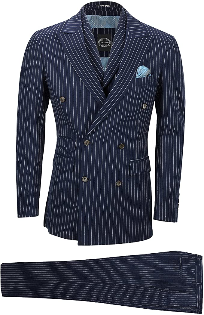 1930s Men's Clothing Xposed Mens Navy 3 Piece Double Breasted Chalk Stripe Suit Classic Vintage Tailored Fit £139.99 AT vintagedancer.com