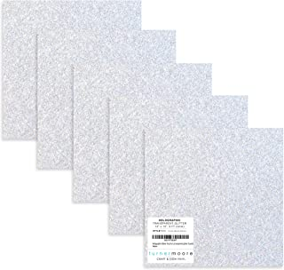 """Holographic Silver Glitter Vinyl, 12"""" x 12"""" Transparent Glitter Vinyl Sheets for Silhouette Cameo, Maker, Stickers, Glass ..."""