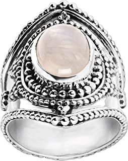 Moonglow' 2 ct Natural Moonstone Shield Ring in Sterling Silver