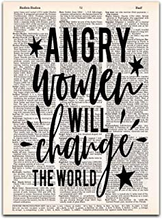 Angry Women Will Change the World, Feminist Art, Dictionary Print