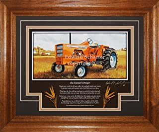 American Memory Prints Art by Ed Schaefer Allis Chalmers Model 190XT 1964-1973 with The Poem (The Farmer's Prayer) Allis Chalmers Tractor Pictures Wall Decor Art Gift for Dad
