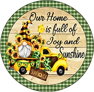 Round Metal Tin Sign Rustic Wall Decor Wall Plaque Gnome Sunflower Wreath Sign, Round Wreath Sign,Suitable for Home Garden Kitchen Bar Cafe Restaurant Garage Wall Decor Retro Vintage 12x12 Inch