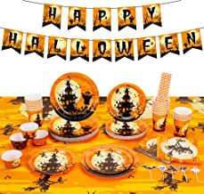 Decorlife 170PCS Halloween Party Supplies, Plates and Napkins Set for 24, Including Tablecloth, Banner, Cupcake Toppers an...