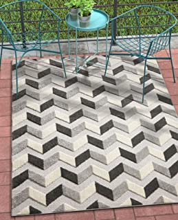 Well Woven Maui Grey Indoor/Outdoor Chevron Area Rug 8x11 (7'10