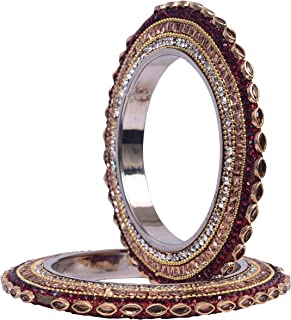 Indian Traditional Bollywood Royal Kundan Party wear Brass Bangles for Women