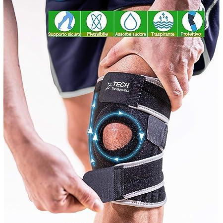 TECH THERAPEUTICS Nouvelle Genouillère Sport Intense 2020 | Attelle Genou pour Soutien, Stabilisation et Maintien du Genou | Protection Muscles des Déchirures | Médical | Post-blessure ou Opération