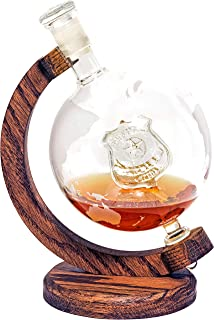Police Officer's Decanter - Globe Decanter w/Law Enforcement Badge - Retirement Gift for Police Officer or Police Academy Graduation Gift - 1000ml Decanter- Police Gifts, Cop Gifts Home Office Decor