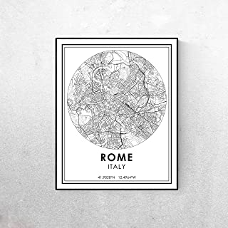 Pulling Rome map Minimalist Poster or Rome Italy Roads map Modern Black and White Travel Print Streets map City map map Art