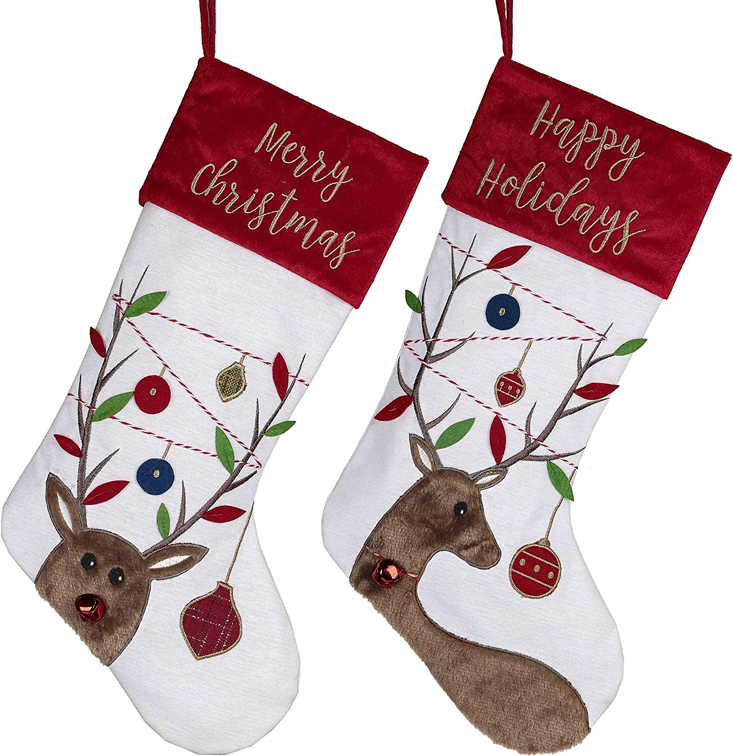 Valery Madelyn 21 inch 2 Joyful Sales Louisville-Jefferson County Mall Reindeer Stocking Pack Christmas