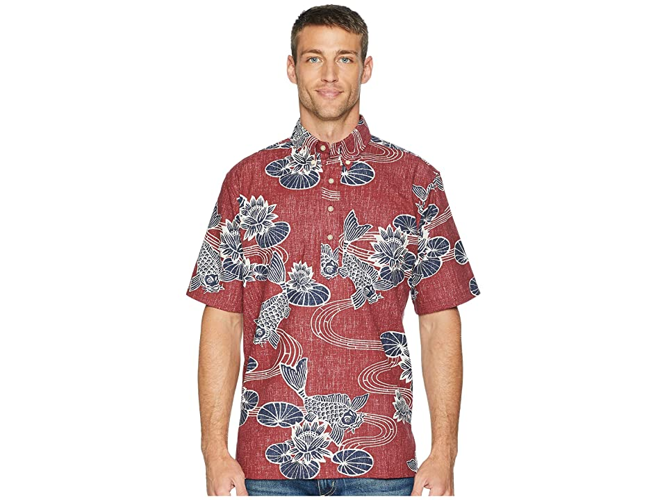 Reyn Spooner Kyoto Ponds Pop Over Aloha Shirt (Crimson) Men