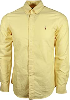 Ralph Lauren Polo Mens Classic Fit Buttondown Oxford Shirt (BSR Yellow, Small)