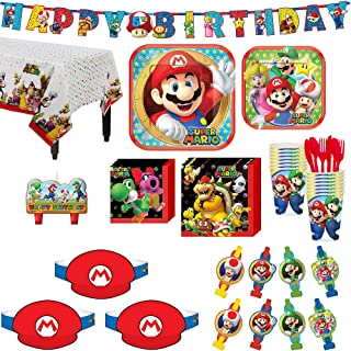 Party City Super Mario Birthday Party Supplies, Includes Happy Birthday Banner, Candles and Party Hats, Serves 16