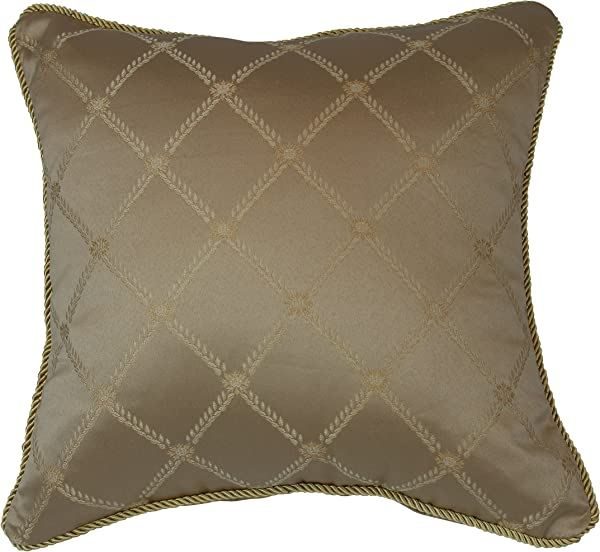 Violet Linen DIAMOND DAMSK C Diamond Damask Decorative Throw Pillow 18 X 18 Gold