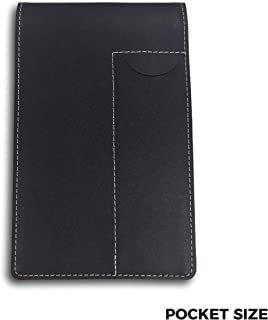 """Pocket Notebook Cover and Holder for Extra Stability – 6"""" x 3-3/4"""" Black Leather, Includes a Pen Pocket"""