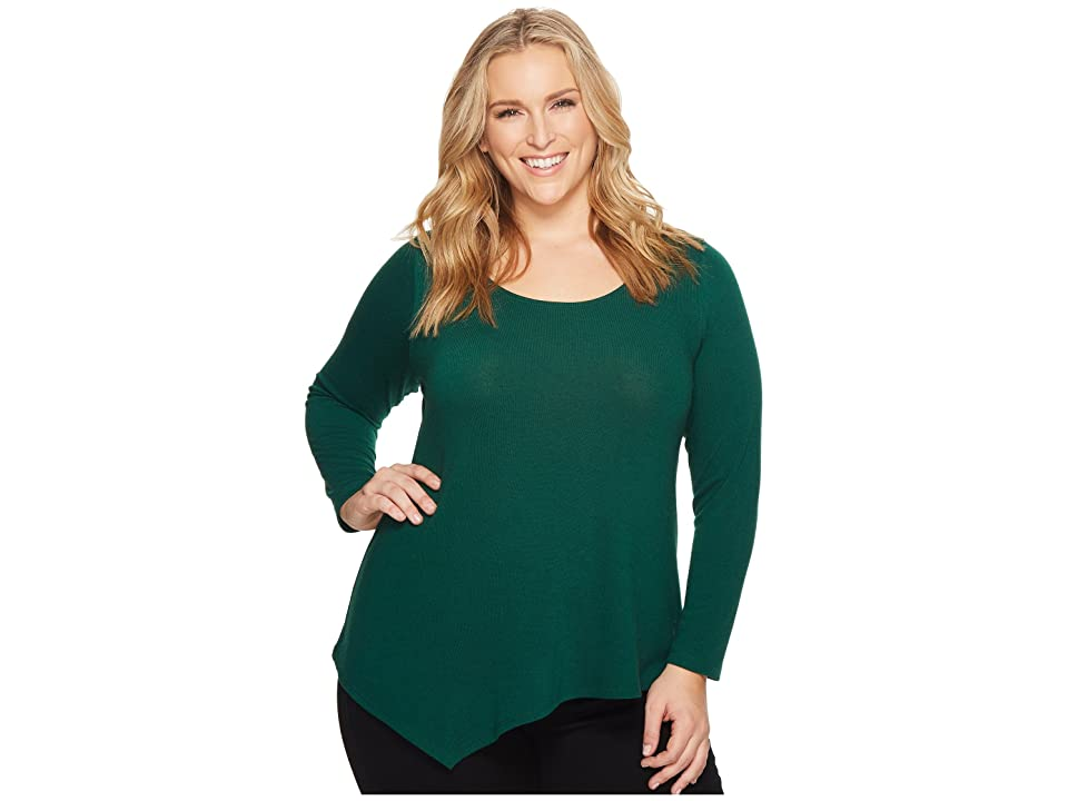 Karen Kane Plus Plus Size Asymmetric Hem Sweater (Emerald) Women