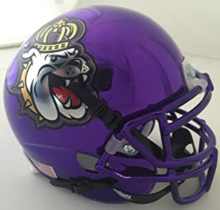 Schutt Sports NCAA 詹姆斯·麦迪逊公园迷你正品橄榄球头盔,紫色铬合金。 1