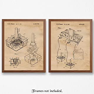 Original Atari Video Games Patent Art Poster Prints, Set of 2 (8x10) Unframed Photos, Great Wall Art Decor Gifts Under 15 for Home, Office, Garage, Studio, Shop, Student, Teacher, Gaming Fan