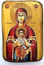 Wooden Greek Christian Orthodox Wood Icon of Virgin Mary Eleftherotria / A0