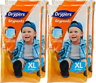 Drypers Drypantz Diapers, XL, Carton, 32 Count, (Pack of 4)