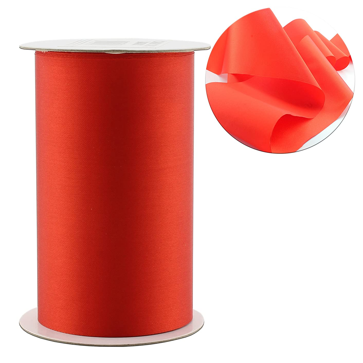 4-Inch Wide Red Satin Ribbon (10 Yards); Solid Color Craft Ribbon for Christmas, Valentines, Grand Opening Ceremonies/Ribbon Cutting, Chair Sashes, Crafts 10-Yard Spool / 30 Feet)