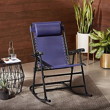 Amazon Basics Outdoor Textilene Zero Gravity Folding Lounge Rocker with Pillow, Navy