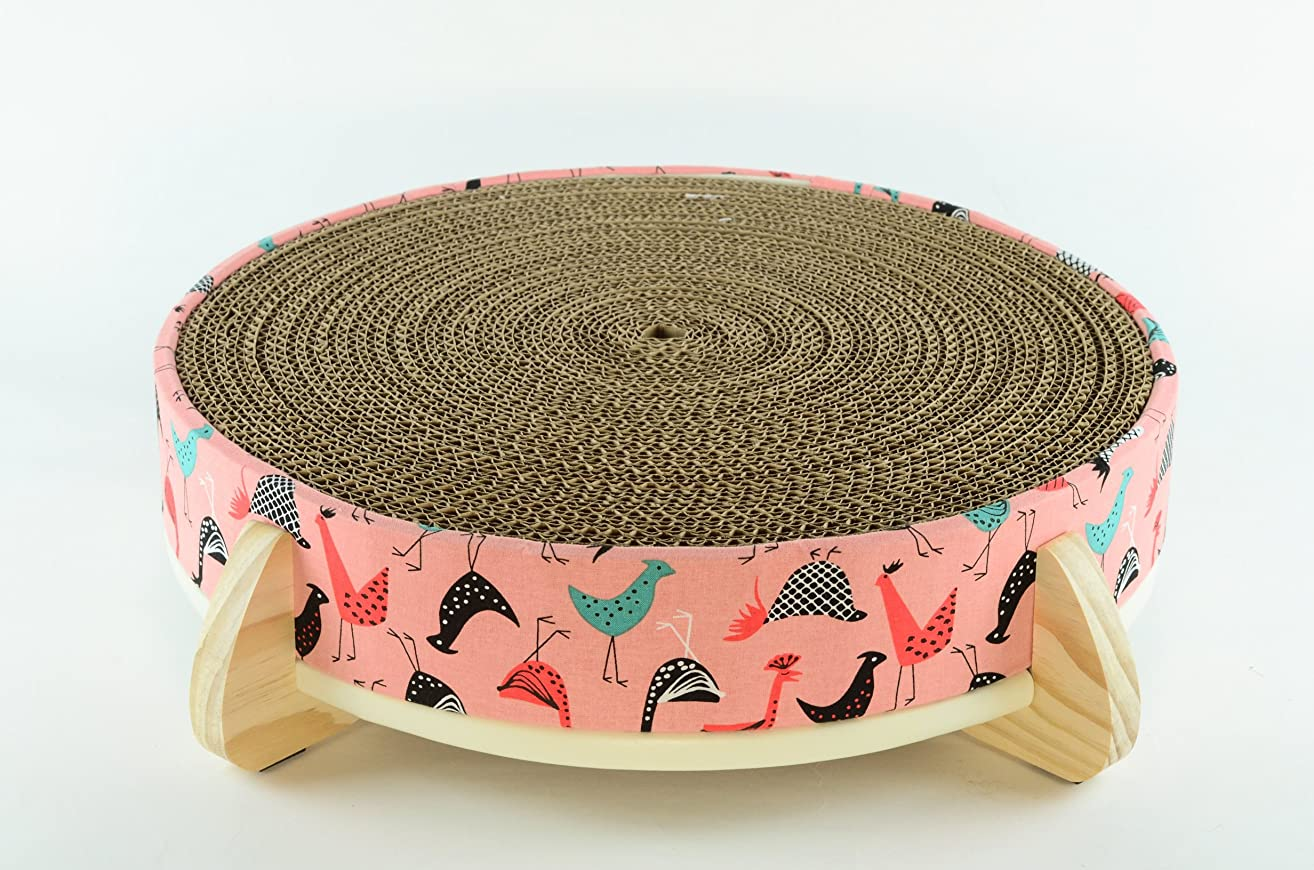Cat Scratcher and Cat Bed - (Pink Chicken) Fabric cover, handcrafted wood legged base, and large long-lasting replaceable cardboard insert
