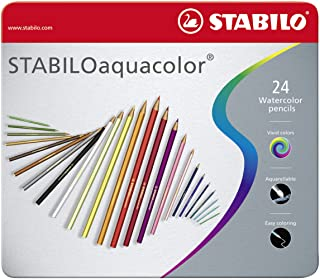 Colouring Pencil - STABILO aquacolor Metal Tin of 24 Assorted Colours