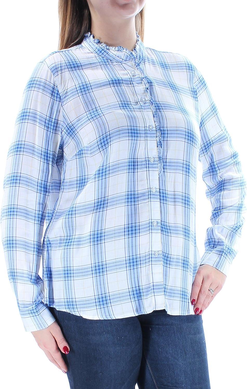 Maison Jules Women's Ruffled Plaid Shirt