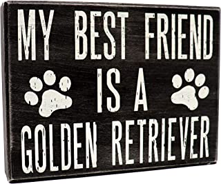 JennyGems - My Best Friend is a Golden Retriever - Wooden Stand Up Box Sign - Golden Retriever Moms Gift Series - Golden Retriever Decor Signs - Rustic Farmhouse Box Sign