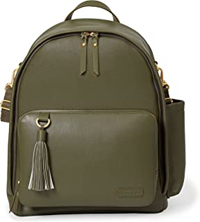 Skip Hop Diaper Bag Backpack, Greenwich Multi-Function Baby Travel Bag With Changing Pad And Stroller Straps, Vegan Leather, Olive/Silver