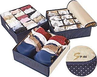 Topline Goods - Spark Premium Set of 3, Foldable, Covered Drawer Organizer, Closet Organizer for Socks, Bras for Women, Underwear, Baby Clothes, Belts, Scarves (Blue)