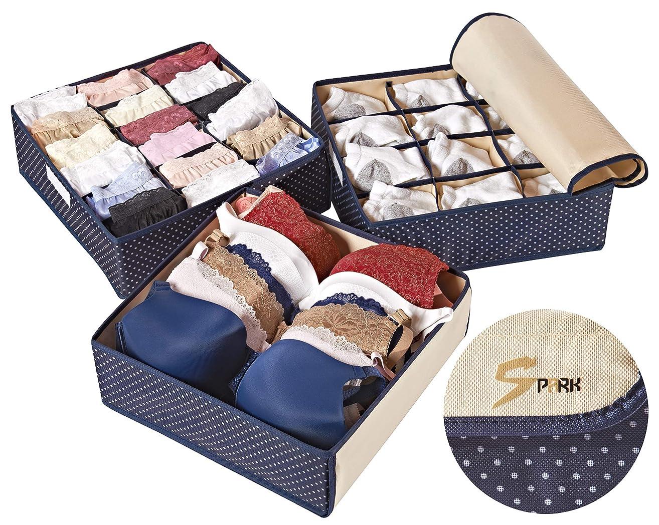 Topline Goods - Spark, Foldable, Covered Drawer Organizer, Closet Organizer, Drawer dividers for Socks, Baby Clothes, Belt, Tie, Bras for Women, Scarves, Bath Towels, Set of 3 (Blue)