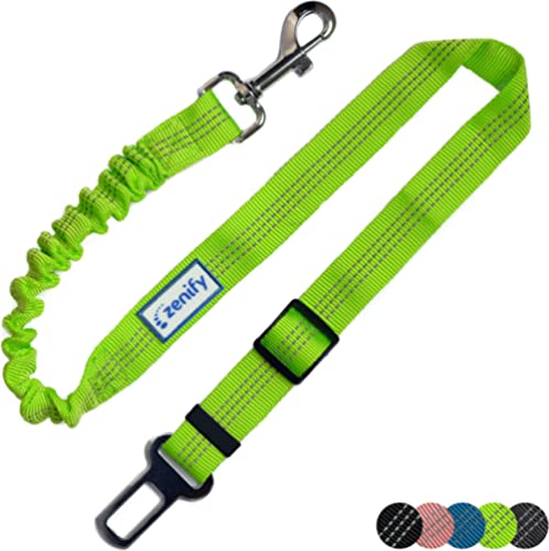 Zenify Dog Car Seat Belt Seatbelt Lead Puppy Harness - Extendable Bungee Adjustable Carseat Clip Buckle Leash for Dog...
