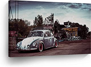 Old Rusty Volkswagen VW Beetle in The Junk Yard Canvas Print Decorative Vintage Art Modern Rustic Wall Decor Artwork Wrapped Wood Stretcher Bars - Ready to Hang -%100 Handmade in The USA - 8x12