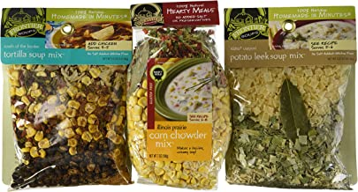 Frontier Soups 100% Natural Homemade In Minutes Gluten-Free Soup Mix 3 Flavor Variety Bundle: (1) South Of The Border Tortilla Soup Mix, (1) Illinois Prairie Corn Corn Chowder Mix, and (1) Idaho Outpost Potato Leek Soup Mix, 3.25-7 Oz. Ea.