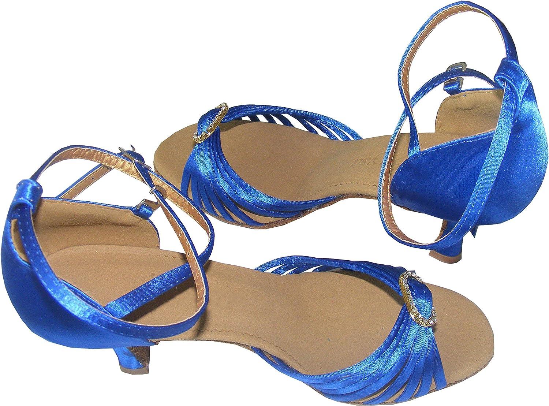 Diamond ring Black bluee satin women ballroom Latin dance shoes
