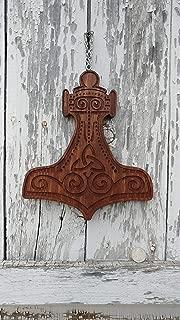 Mjolnir Thor's Hammer wood C Wall Carving, english chestnut