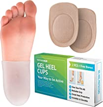 Gel Heel Cups for Men Women - Breathable Reusable Soft Silicone Heel Cushion Sleeve Protectors - Foot Care Socks Reduce Pain from Plantar Fasciitis Achilles Tendonitis - Cracked Sole Heel Pain & Spur