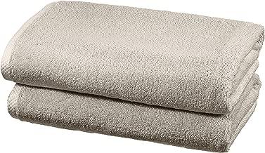 AmazonBasics Quick Dry Cotton Towel Set, 2 Bath - Platinum